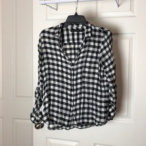 Black and white gingham button up blouse